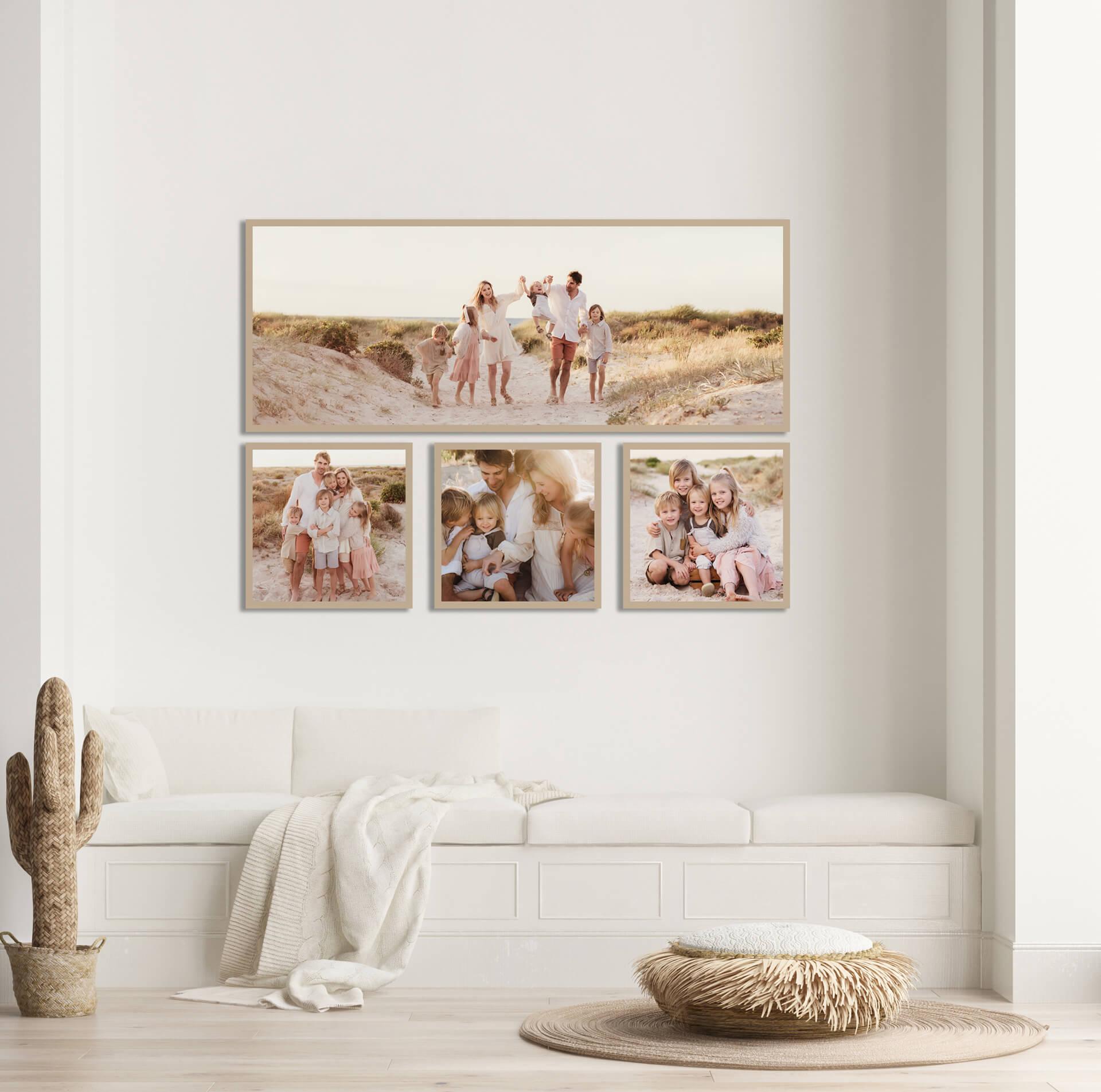 family photos on the wall