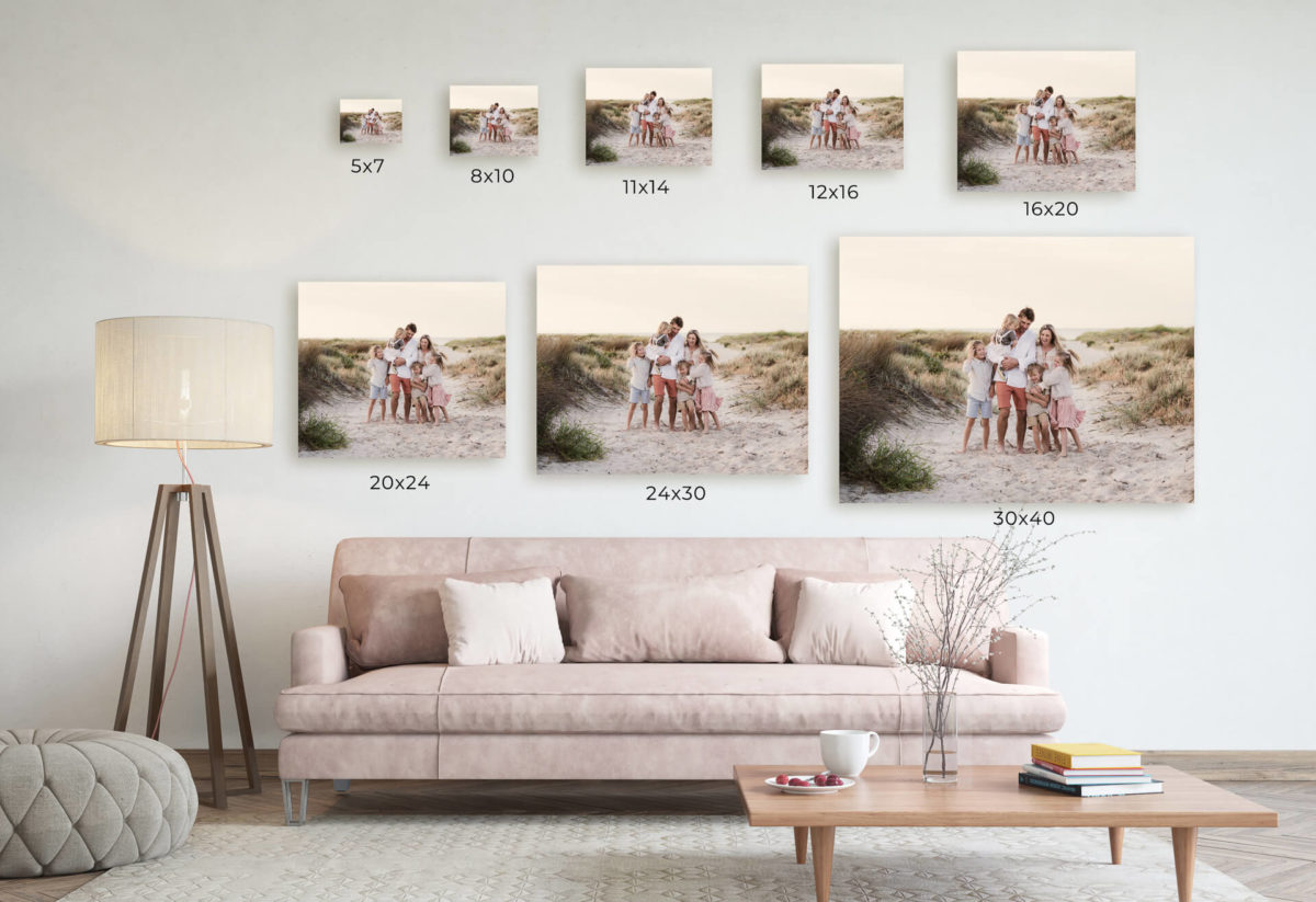 photo sizes for wall