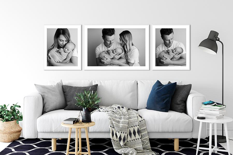 newborn photography wall display